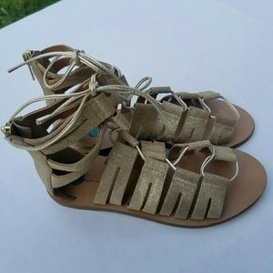 J. Crew gold lace up gladiator sandals 5.5